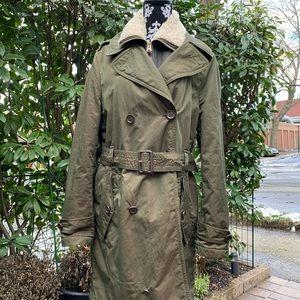 Men's Brown Detachable Shearling Bib Trench Coat
